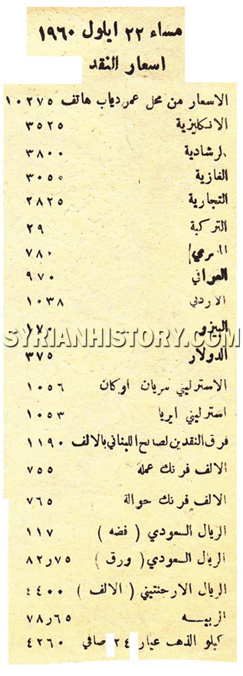 التاريخ السوري سعر صرف الليرة السورية مساء 22 آيلول 1960